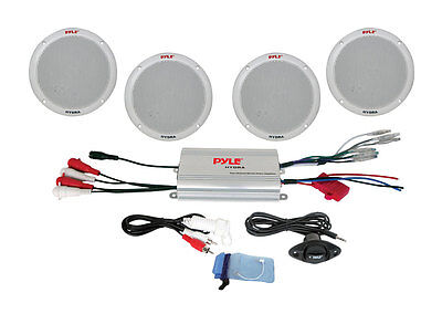"NEW PYLE PLMRKT4A Marine/Boat 6.5"" 4-Channel MP3/iPod Speaker System + Amplifier on Rummage"