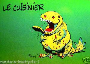 Carte postale rigolote monstres collector franquin le for Cuisinier humour