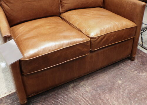 "49"" L Beautiful Loveseat Sofa Distressed Top Grain Light Brown Soft Leather Nice"