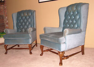 2 blue upholstered chairs London Ontario image 2