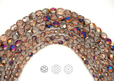 Czech Fire Polished Round Faceted Glass Beads in Crystal Sliperit pink -