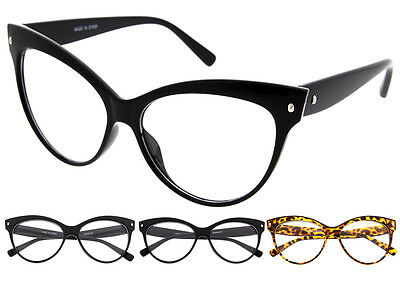 Oversized Cat Eye 50s Womens Glasses Pinup Retro Vintage Black Style Clear Lens](50s Style Glasses)