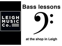 Bass guitar lessons - at Leigh Music Co. - a few spaces left!