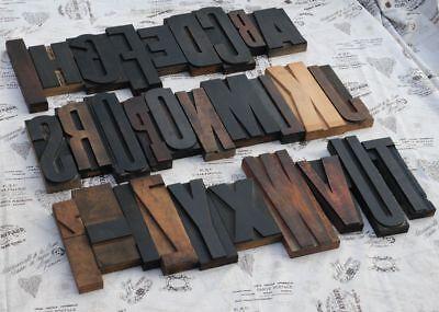 Giant A-z Mixed Alphabet 8.86 Letterpress Wood Printing Blocks Type Abc Rare