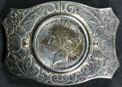 Unique Interchangeable Silver Dollar Belt Buckle with 1934-D Peace Dollar