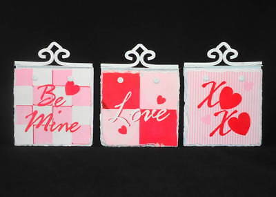 (3pc Valentine's Day Stone Wall Tile Plaque Set Be Mine Love XO Hearts Decor)