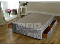 Brand New Luxury Crush Velvet Divan Bed Base in 4ft6 Double or 5ft King size, Opt Headboard Mattress
