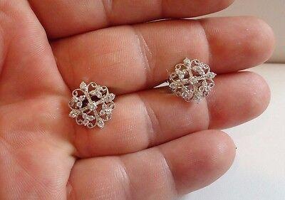 925 STERLING SILVER ANTIQUE FLOWER STUD EARRINGS W/.75 CT DIAMONDS/ NEW DESIGN!