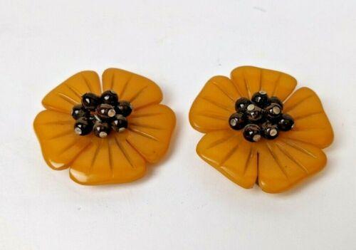 Stunning Pair MIRIAM HASKELL Carved Butterscotch Bakelite Flower Dress Clips