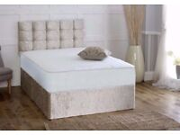 **CRUSHED VELVET**MEMORY SPRUNG DIVAN BED AND MATTRESS - FREE HEADBOARD - AVAILABLE IN ALL SIZES