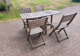 Outdoor Wooden Table and Chair Set (easy storage)