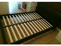 Double bed frame Faux leather brown