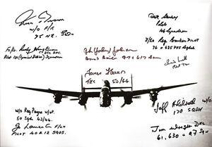 WW2-LANCASTER-multi-SIGNED-12x8-veterans-11-RARE