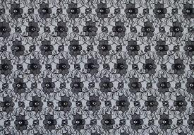 New Black Floral Lace Fabric [80cmx100cm] +3 FREE LACE TRIM REMNANTS!