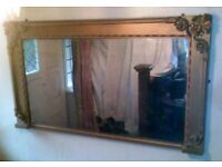 A LARGE 19TH CENTURY VICTORIAN, GILTWOOD OVERMANTEL MIRROR.