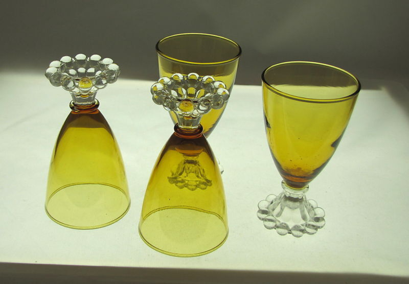 4 ANCHOR HOCKING AMBER BOOPIE GLASS JUICE GLASSES