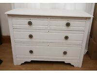 Vintage Solid Wood Chest of Drawers Painted White Shabby Chic 4 Drawers