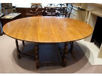 Antique 18C Oak Oval Drop Leaf Table