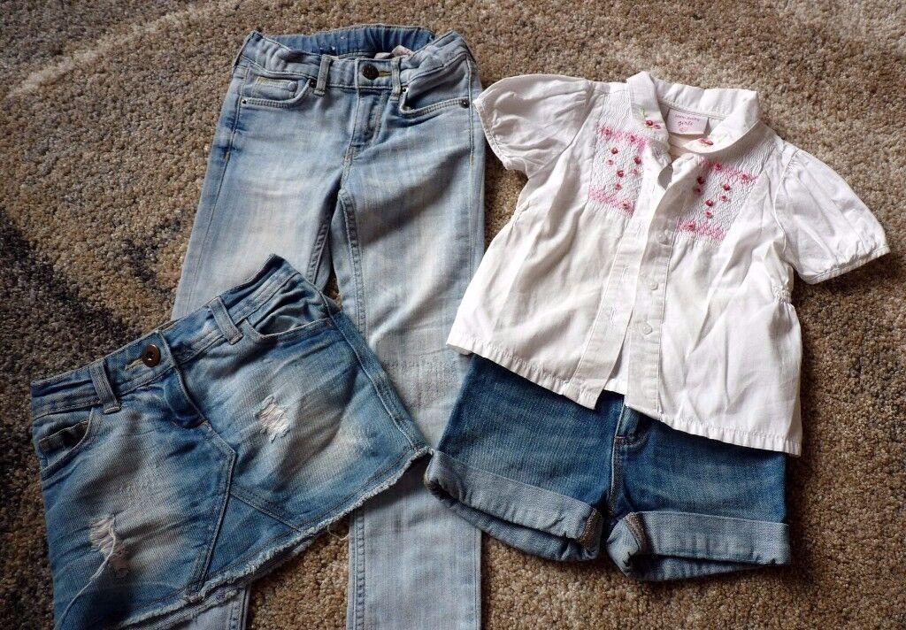 Denim skirt, shorts, jeans and shirt
