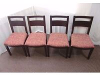 4 SOLID ROSEWOOD DINING CHAIRS