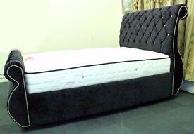 Black Crushed Velvet Sleigh Swan Bed Frame 4ft6 5ft 6ft