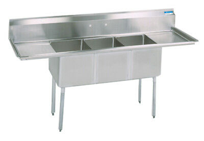 Bk Resources Bks-3-18-12-18t Commercial Stainless Steel 3-compartment Sink 2 Db