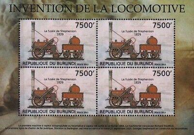 GEORGE STEPHENSON's 1829 L&M ROCKET 0-2-2 Train Stamp Sheet (2012 Burundi)