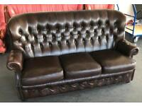 Vintage Brown Leather Wingback Sofa .Can Deliver