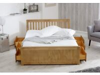 4FT Small Double Bed Frame with 6 Drawers Finished in Waxed Pine