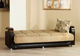 ** 14 DAYS MONEY BACK GUARANTEE ** Italian fabric SOFA BED - Brand new same day delivery