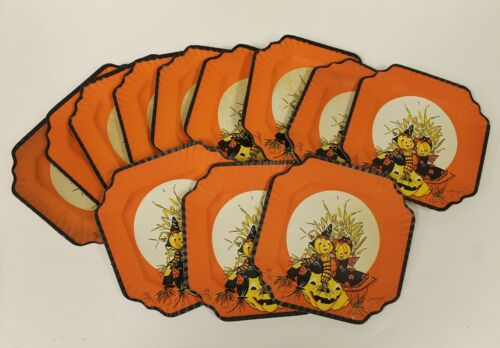 (14) Vintage Halloween Party Plates JOL Pumpkin Scarecrow