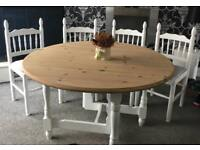 Lovely gate leg shabby chic dining table and 4 chairs