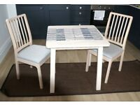 IKEA NORRAKER dining table, white birch, 74x74 cm.