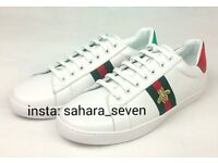 White Gucci Ace Shoes Trainers with Red and Green Stripe £90