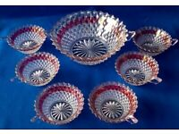 PRETTY GLASS BOWL with 6 MATCHING DISHES - RED DETAIL - FRUIT PUNCH