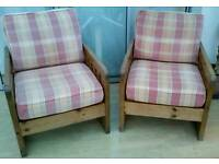 Pair (Two) Pine Frame Armchairs With Foam And Feather Cushions (£20.00 [ovno])