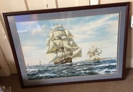 Large ship picture in mahogany frame