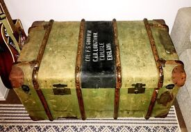 Beautiful Army Steamer Trunk/Chest Would make great coffee table Centre Piece in Room