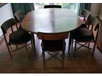 G-Plan Teak Extending Dining Room Table and 6 chairs