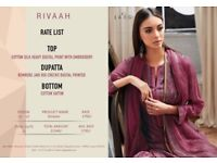 SARG RIVAAH WHOLESALE COTTON SILK HEAVY DIGITAL PRINT WITH EMBROIDERY SUIT