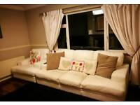 White leather DFS suite of furniture sofa and 2 Chairs