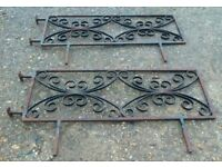 Pair of Heavy Wrought Iron Balustrade/Balcony Railings