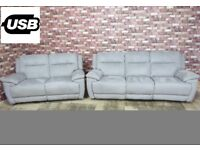 QUALITY EX DISPLAY 'TOUCH' 3 & 2 ELECTRIC RECLINER SOFAS IN SILVER GREY MICROFIBRE SETTEE/SUITE
