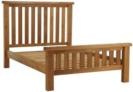 Solid Oak king sized bed and mattress