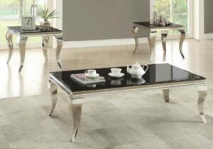 Black Coffee Table with Chrome Legs (SAM701)