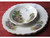 Royal Vale Country Cottage Bone China - 2 Cake Plate/Serving Plate/Sandwich Plate and 2 Saucers