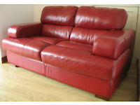 red leather two seater sofa & two chairs sofa immaculate chairs worn £200 buyer uplifts