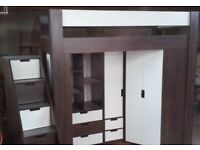 Modern bunk bed with mattress GRATIS/ FREE, stairs and desk. Loft bed. All in one. AVAILABLE