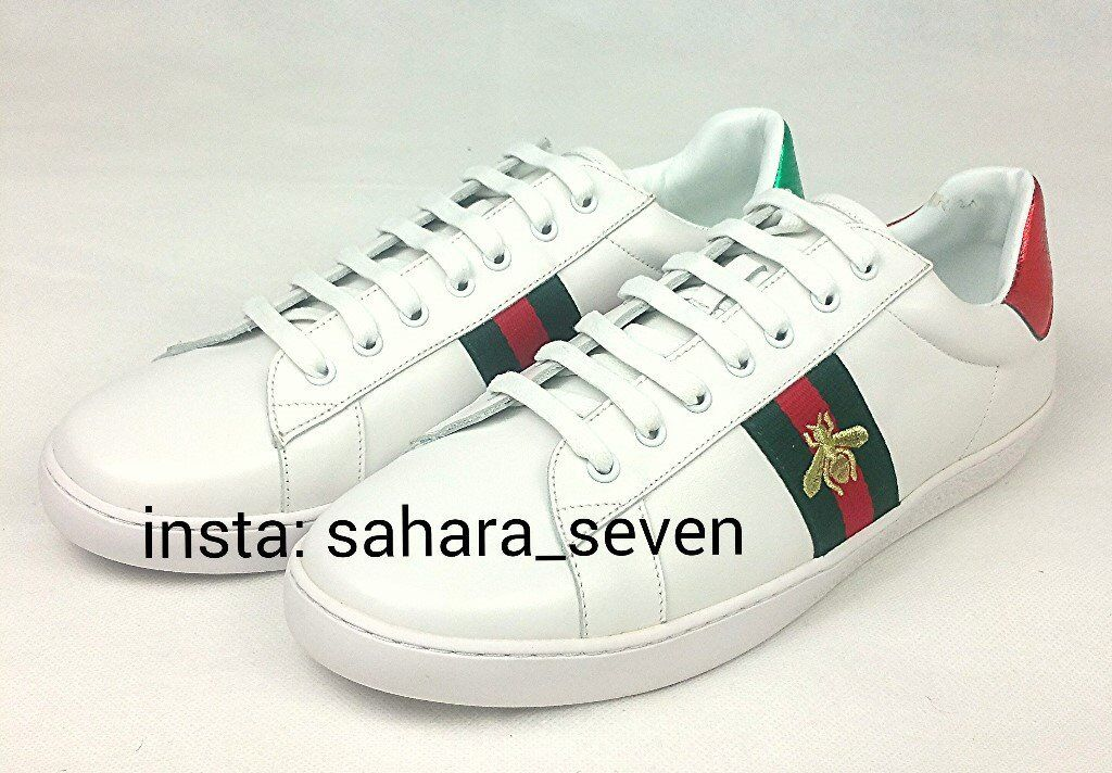 56295ddd394 White Gucci Ace Shoes Trainers with Red and Green Stripe £90