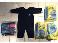 Brand New Baby Swimming - Bodysuit, Happy nappy and Huggins little swimmers nappies